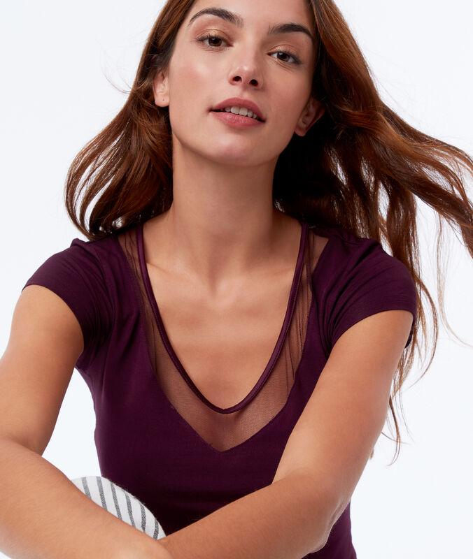 T-shirt z koronkowym dekoltem prune.