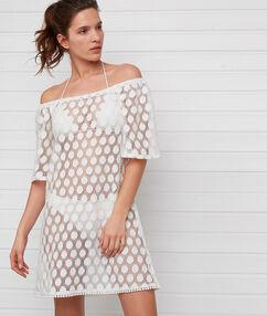 Sukienka plażowa ażurowa ecru.