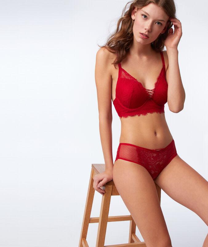Koronkowy biustonosz usztywniany, efekt sznurowanych pasków rouge.