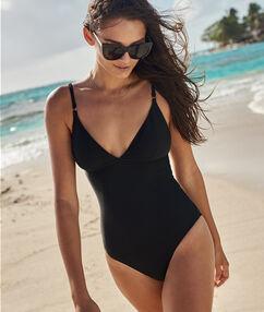 Jednoczęściowy kostium kąpielowy jednokolorowy noir.