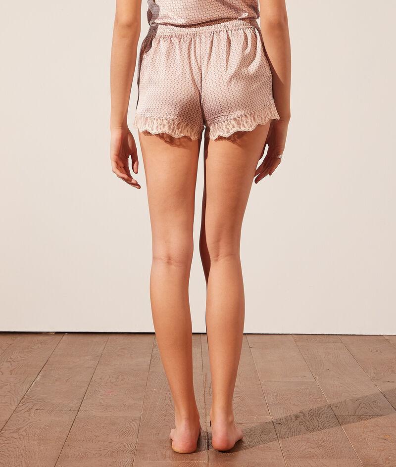 Wzorzyste spodenki od piżamy ozdobione na brzegach koronką;${refinementColor}
