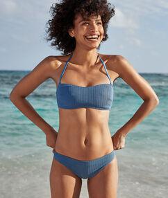 Bas de bikini simple matiéré bleu.