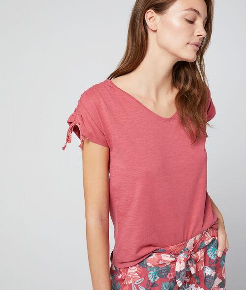 T-shirt z wiązaniami na rękawach