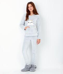 Piżama dwuczęściowa z bluzą-misiem szary clair.