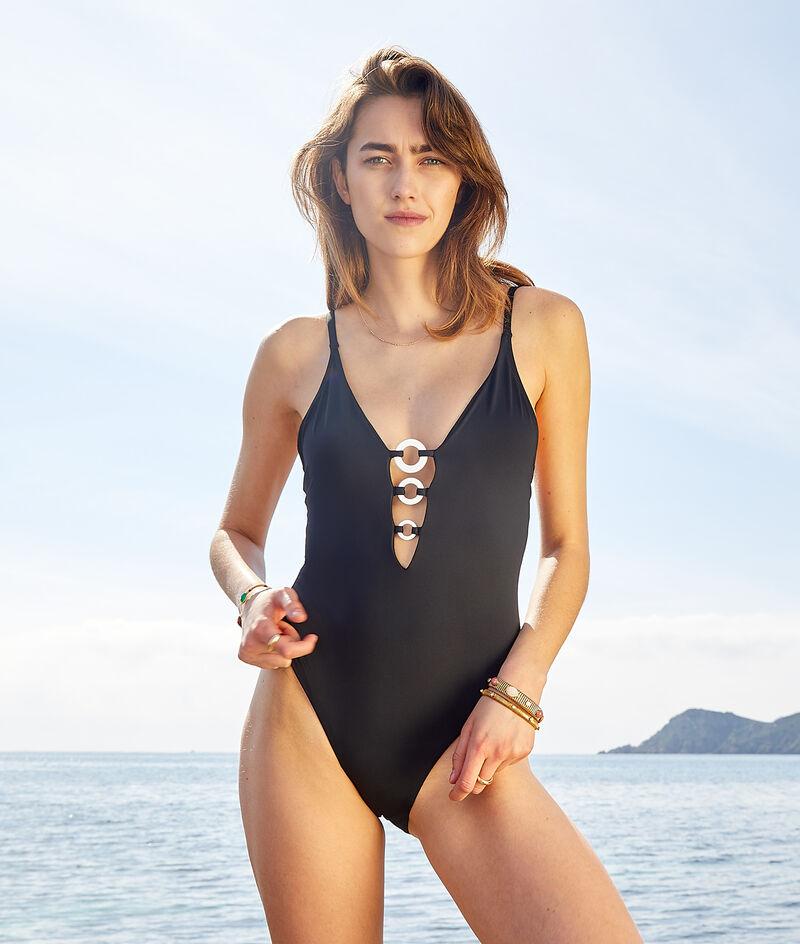 Jednoczęściowy kostium kąpielowy bez fiszbin z klamrami na dekolcie;${refinementColor}