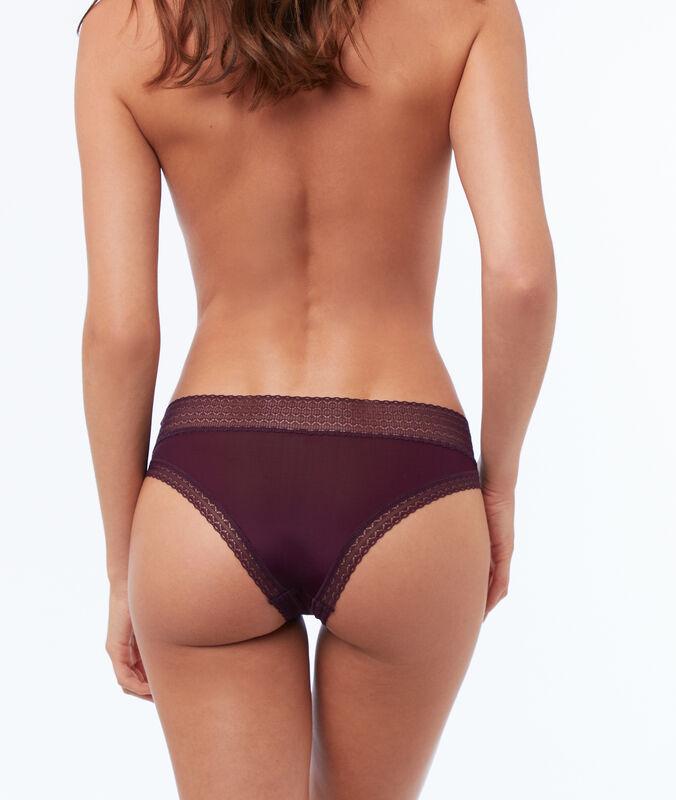 Majtki typu hipster z dwóch materiałów violet.