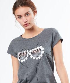 T-shirt z motywem okularów gris.