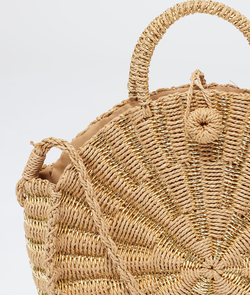 Okrągły koszyk plażowy z wikliny;${refinementColor}