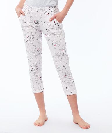 Wzorzyste spodnie 3/4 rose pâle.