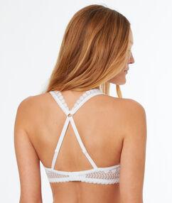 Biustonosz  - klasyczny biustonosz usztywniany z koronki, na plecach wycięcie w stylu bokserskim blanc.