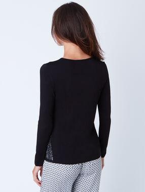 Klasyczna bluzka od piżamy ze wstawką z koronki czarny.