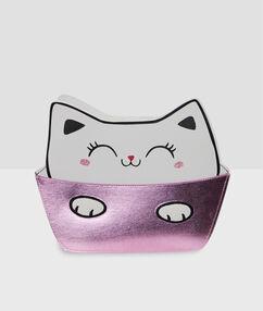 Trousse de toilette chat ecru.