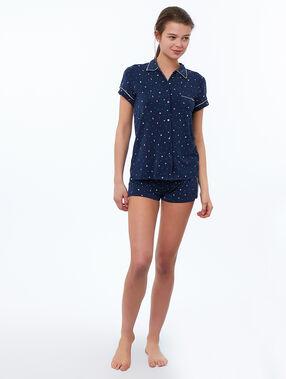 Koszula od piżamy z motywem gwiazdek i błyskawic bleu.