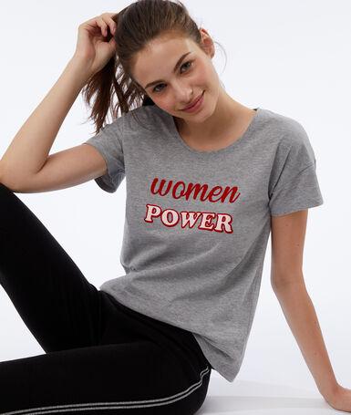 T-shirt 'women power' gris.
