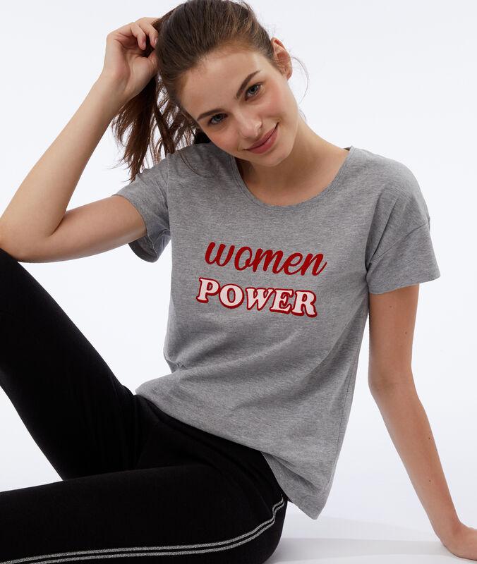 T-shirt z napisem 'women power' gris.