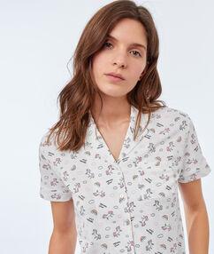 Koszula od piżamy z motywem jednorożca blanc.