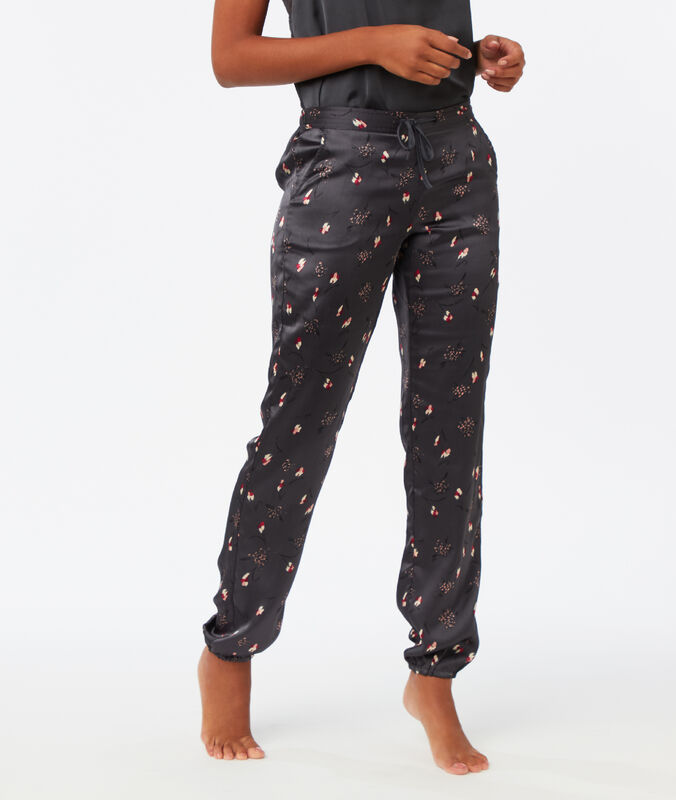 Wzorzyste satynowe spodnie gris.
