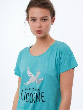 T-shirt z nadrukiem bleu.