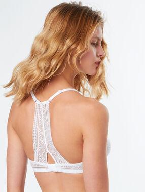 Miękki koronkowy biustonosz z wycięciem na plecach w stylu bokserskim blanc.