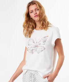 T-shirt z nadrukiem motyla blanc.