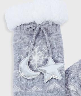 Wzorzyste wiązane skarpetki homewear gris.