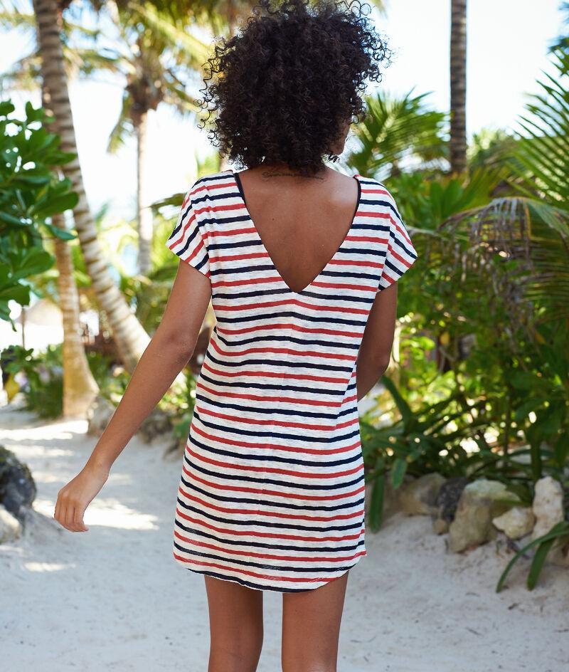 Tunika plażowa w paski, wycięcie na plecach w kształcie litery V;${refinementColor}