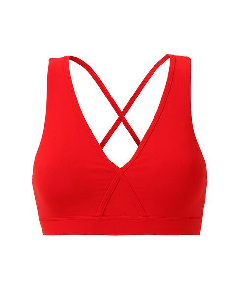 Biustonosz sportowy - skrzyżowane ramiączka na plecach, średnie podtrzymanie, wyjmowane poduszeczki