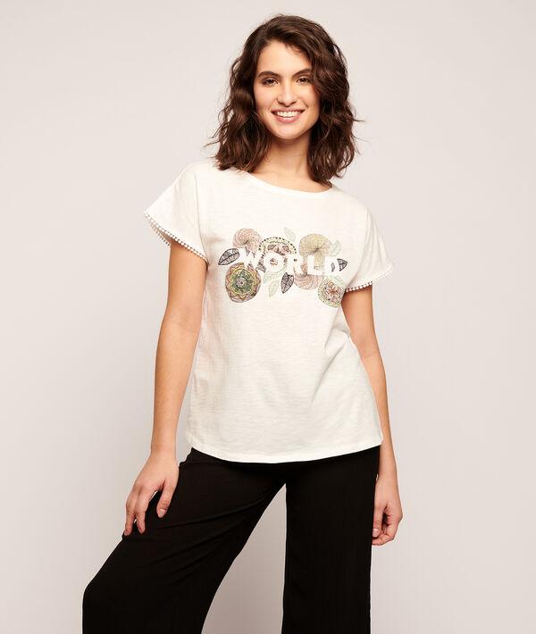 T-shirt z nadrukiem róż i napisem 'world';${refinementColor}