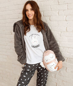 Trzyczęściowa piżama z nadrukiem gris.