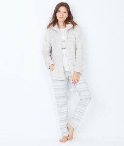 Piżama trzyczęściowa, bluza polarowa w dotyku beżowy.