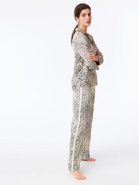 Spodnie z szerokimi nogawkami w cętki leoparda ecru.