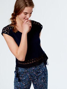 Ażurowy t-shirt  bleu.