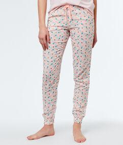 Wzorzyste spodnie rose.