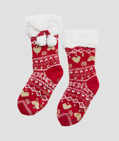 Chaussons chaussettes d'intérieur de noel rouge.