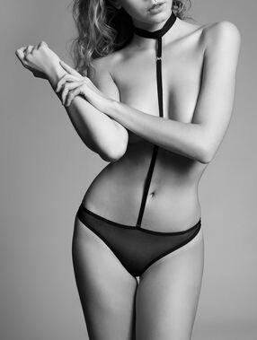 Tiulowe body z ozdobnym paskiem na szyję noir.