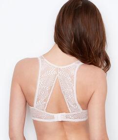 Biustonosz nr 3 - trójkątny koronkowy push up ze zdobionymi plecami blush.