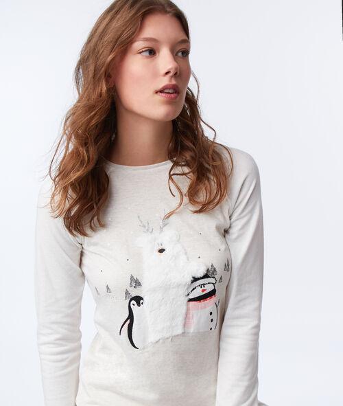 T-shirt z detalami ze sztucznego futerka