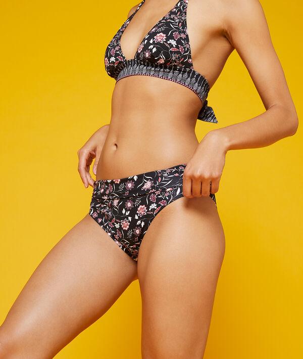 Dół bikini z wielopozycyjnym stanem, deseń w kwiaty