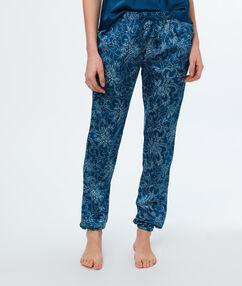 Satynowe spodnie w kaszmirowy deseń bleu.