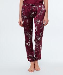 Wzorzyste satynowe spodnie bordeaux.