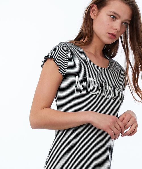 Bawełniany t-shirt w paski z napisem