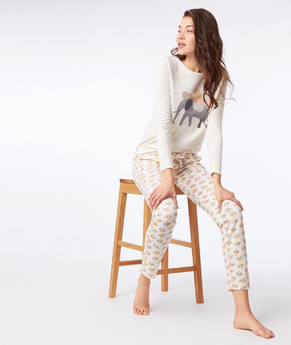 T-shirt z nadrukiem słonia, długie rękawy;${refinementColor}
