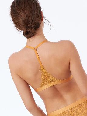 Koronkowy biustonosz trójkątny z wycięciem na plecach w stylu bokserskim ocre.