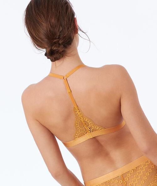 Koronkowy biustonosz trójkątny z wycięciem na plecach w stylu bokserskim