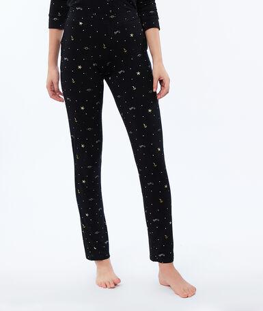 Wzorzyste spodnie noir.