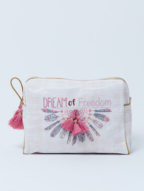 Podwójna kosmetyczka 'dream of freedom' z pomponami ecru.
