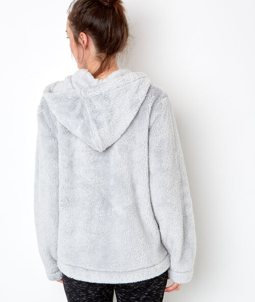 Bluza pluszowa z kapturem zapinana na suwak połyskująca