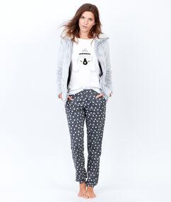 Trzyczęściowa piżama ze spodniami w deseń i bluza polarową szary clair.