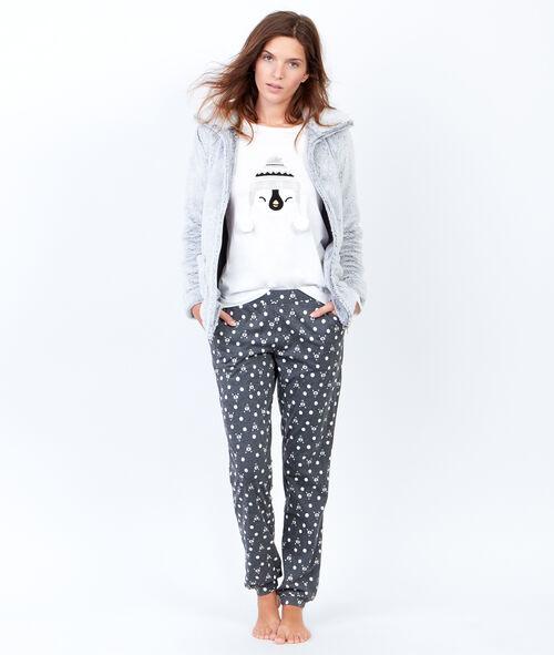 Trzyczęściowa piżama ze spodniami w deseń i bluza polarową