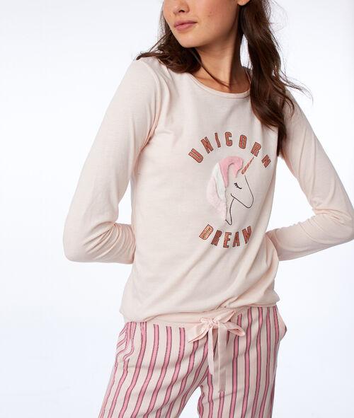 T-shirt z nadrukiem nosorożca, długie rękawy